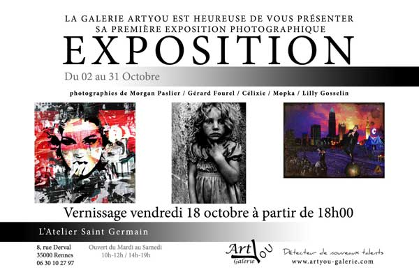 PHOTOGRAPHIE - Vernissage de MORGAN PASLIER le vendredi 18 octobre 2013 à partir de 18h00.